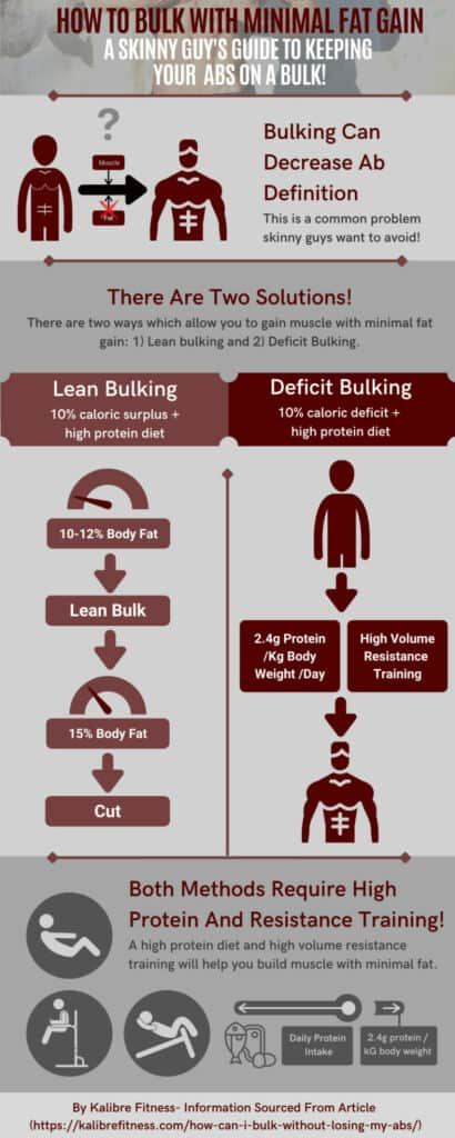 infographic showing how to bulk without losing your abs