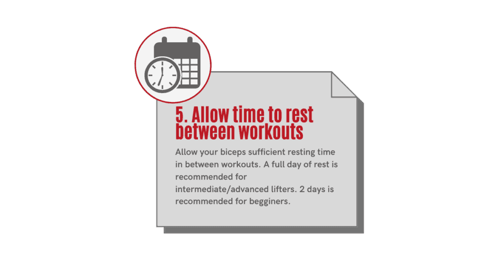 how to get bigger biceps- allow rest time between workouts