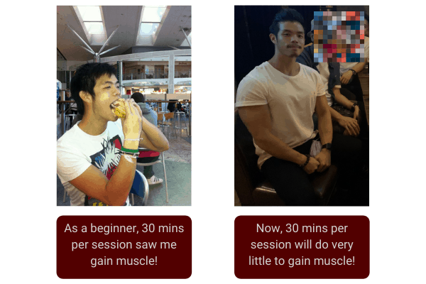 I use to train for 45 minutes per workout, but now I train for 1 hour and 15 minutes for workout
