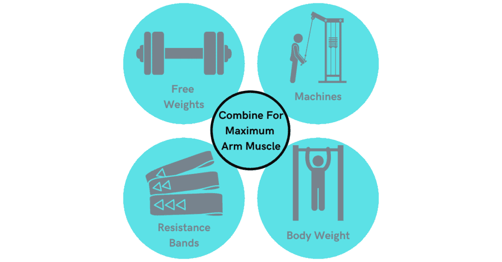 how to grow arm muscle- include free weights, machines, resistance bands, and bodyweight exericises