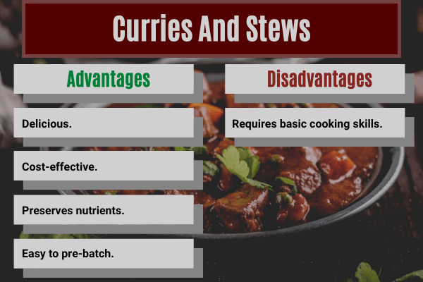 advantages and disadvantages of making curries and stews