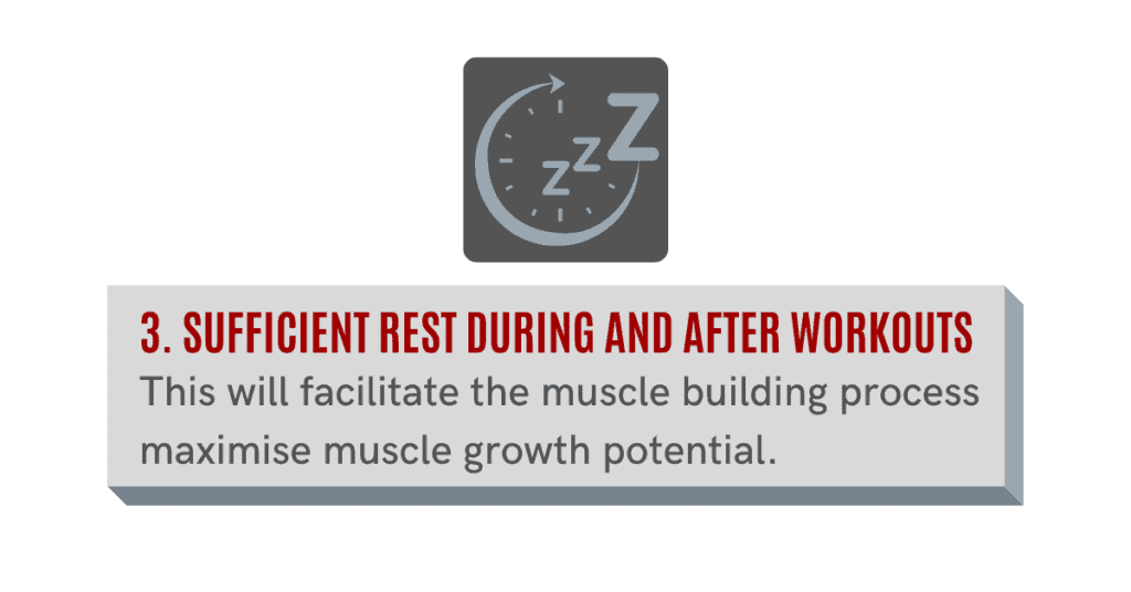 resting during and after workouts will help you gain muscle fast