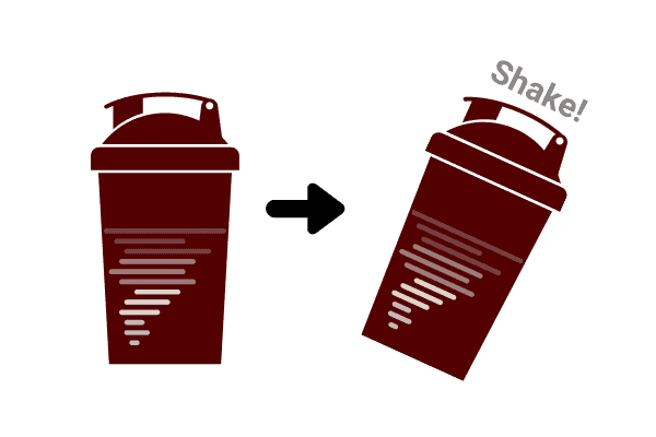swirl and shake a protein shaker to disperse lumps