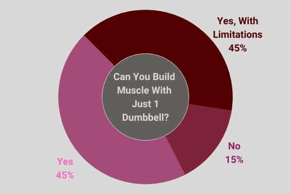 45% of people agree that you can still build muscle with just 1 dumbbell.