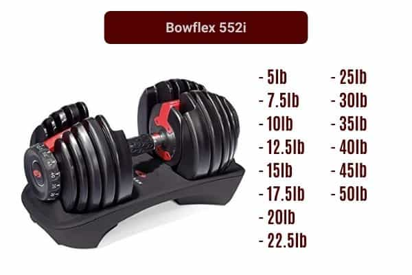 bowflex 552i adjustable dumbbell weight increments
