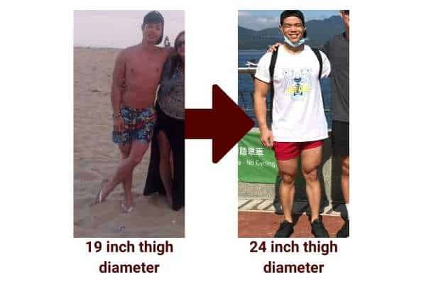 my leg muscle gain transformation did not require doing legs every day
