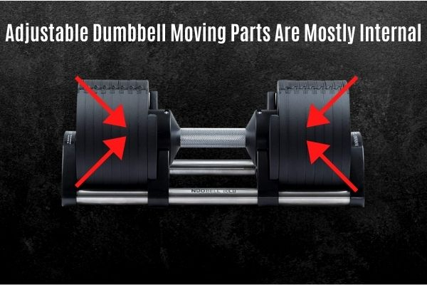 Adjustable dumbbells have internal moving parts which give some protection when dropped