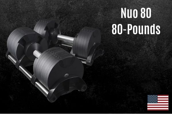 Nuo 80 adjustable dumbbells use a rotating handle to change weight