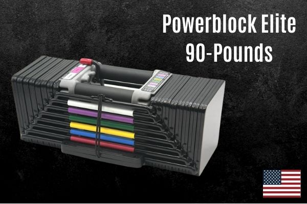 powerblock elite is a 90lb adjustable dumbbell which is cheaper than the elite series