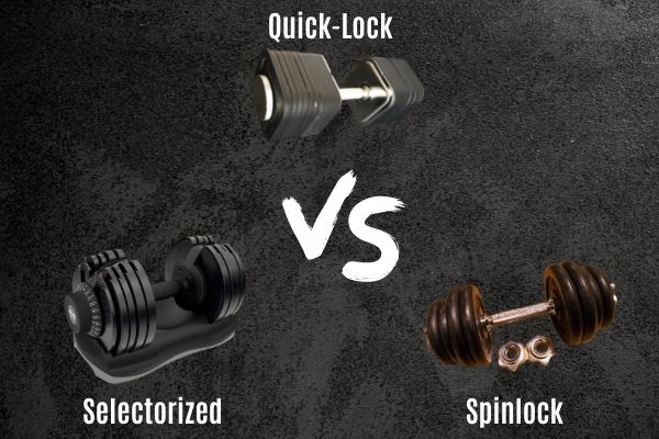 The 3 main types of adjustable dumbbell are selectorized, spin lock, and quick lock