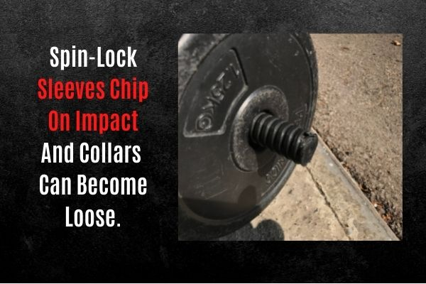 Spin-lock dumbbell sleeves chip on impact.