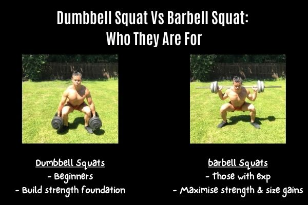 dumbbell squat vs barbell squat and who should perform them