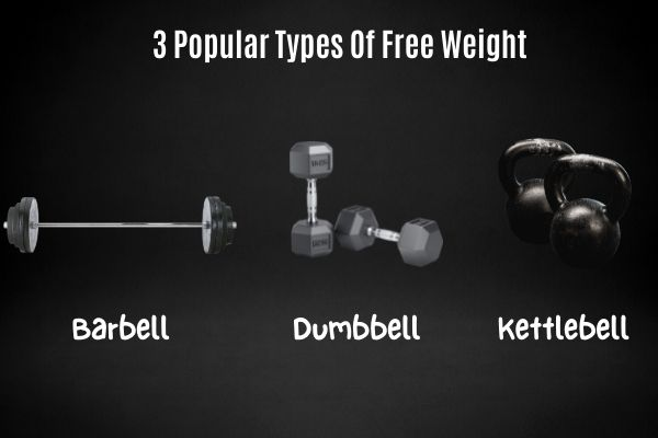 Different types of free weight include dumbbells, barbells, and kettlebells